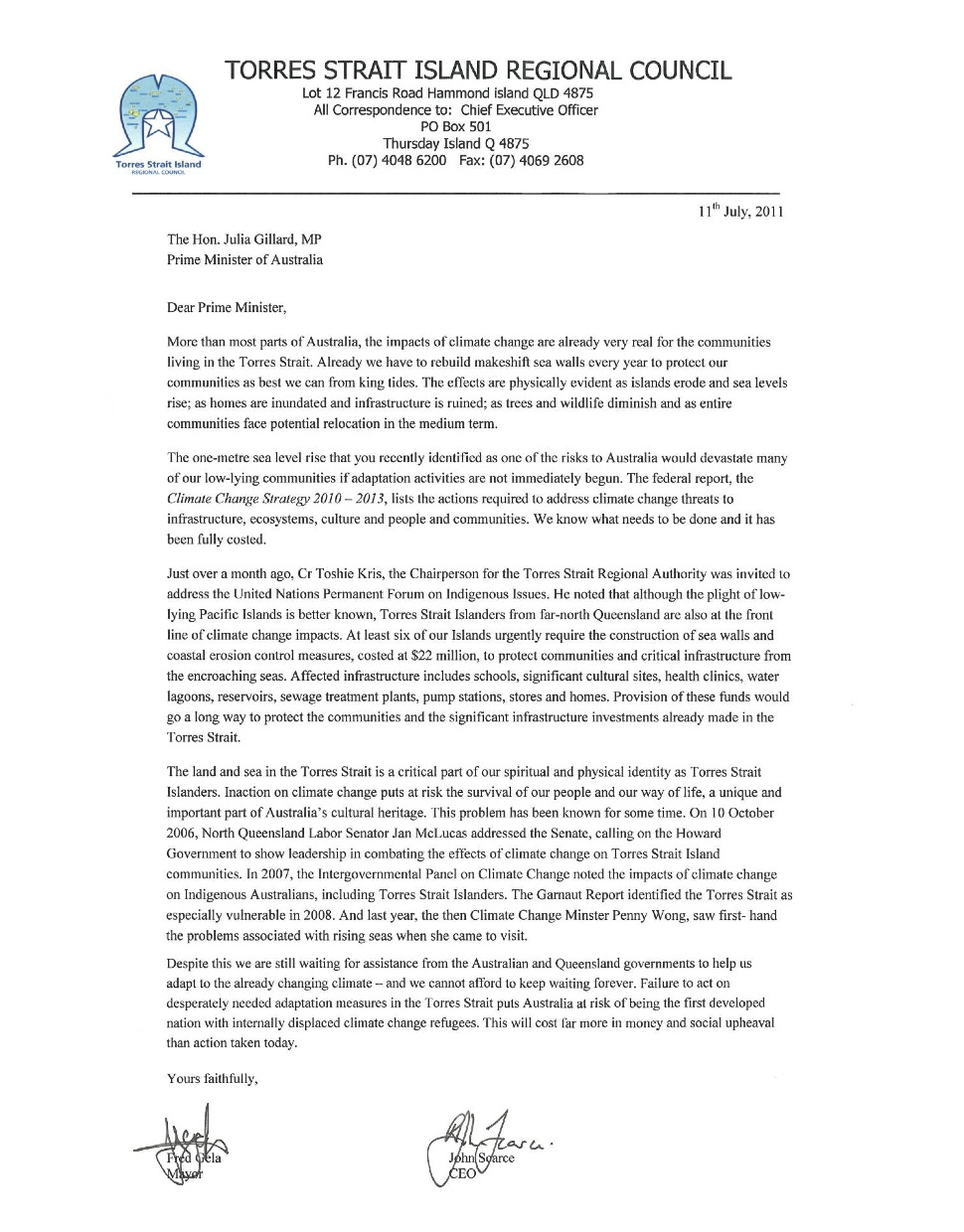 External Link: Read The Torres Strait Council's Letter To The Pm